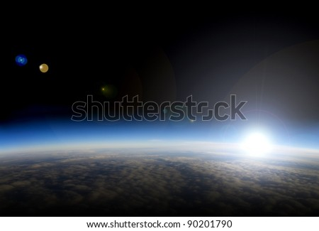 High altitude view of sunrise over Earth. This is is a composite image.