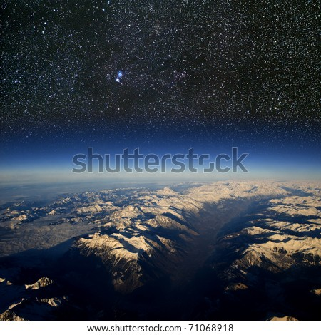 High altitude view of the Earth in space. - stock photo