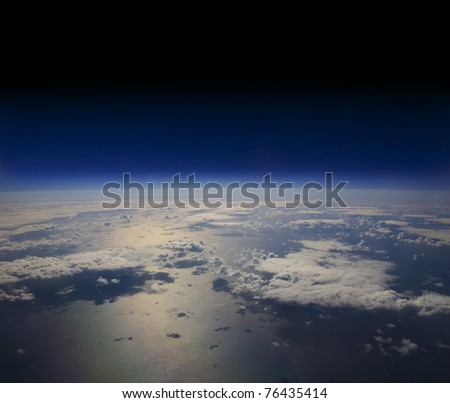 High altitude view of the Earth in space - stock photo
