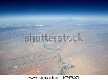 High altitude view of the Earth in space. The desert in the western United States. - stock photo