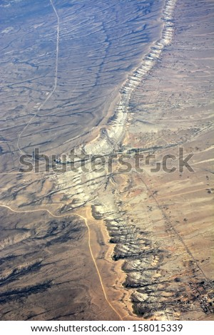 High altitude view of the Earth in space. The desert in the western United States - stock photo