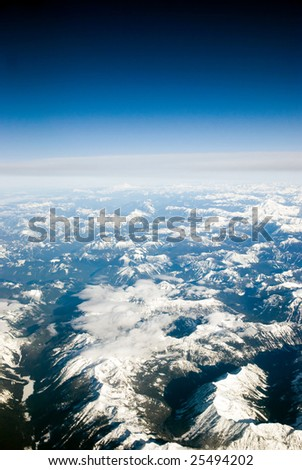 High altitude view of the Northern Cascade mountains in Washington State and Canada