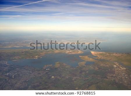 High altitude view of the Thames estuary, England. - stock photo
