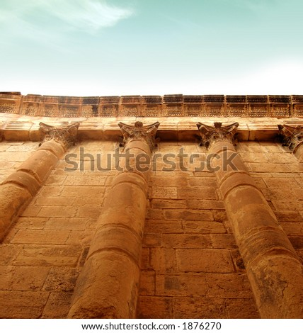 high ancient greek wall to the sky - stock photo