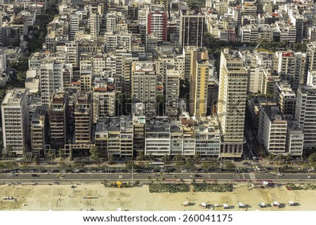High angle aerial view of Ipanema Beach in Rio de Janeiro,Brazil - stock photo
