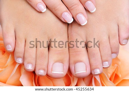 high angle front view of a female clean, pure  feet with french pedicure - stock photo