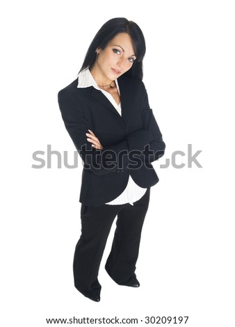 High angle isolated studio shot of a businesswoman looking up at the camera with her arms crossed. - stock photo