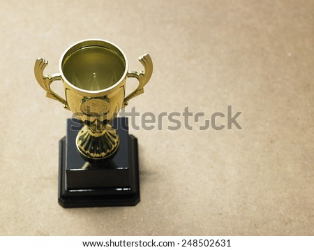 high angle of the trophy - stock photo