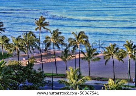 High angle of Waikiki Beach Honolulu Hawaii - stock photo