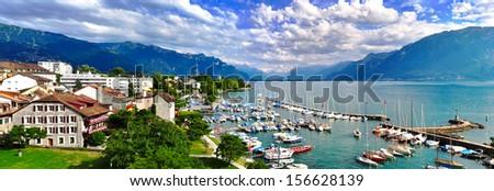 High angle panorama of swiss lake Leman - stock photo