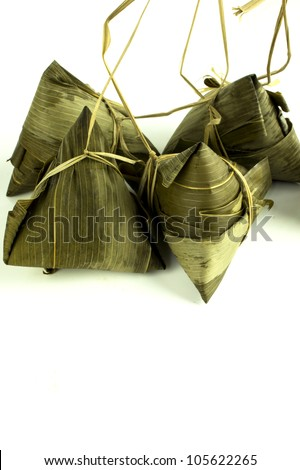 High angle shot of four dumplings on white isolated background. - stock photo