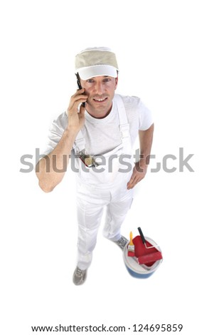 high angle shot of painter making a call - stock photo