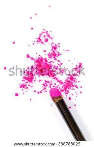 High Angle Still Life of Make-Up Brush Applicator with Bright Pink Eyeshadow Cosmetic Powder Scattered on White Background with Copy Space - stock photo