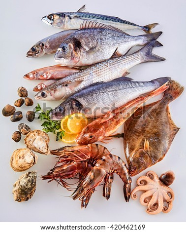High Angle Still Life View of Fresh Raw Fish, Shellfish and Seafood Arranged in Attractive Display on White Background - stock photo