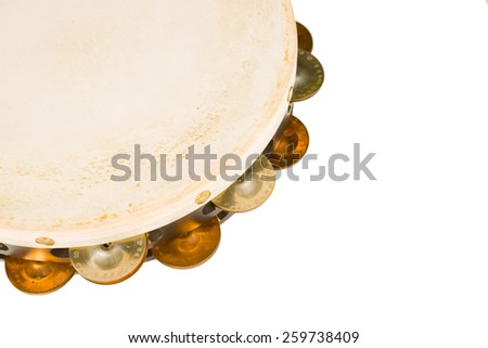 High angle take of a tambourine on white - stock photo