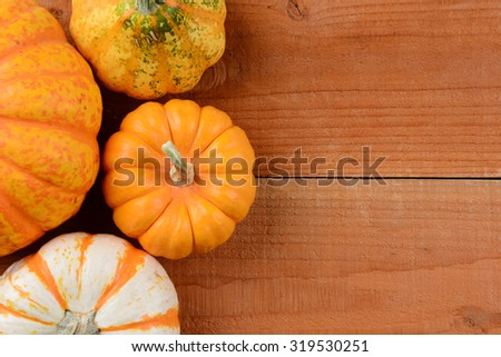 high angle view of a group of ornamental gourds on rustic wood planks. Pumpkins and gourds for Thanksgiving decorations with copy space. - stock photo
