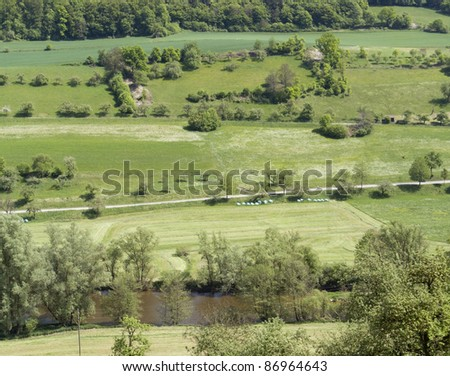 high angle view of a idyllic sunny spring scenery in Hohenlohe (Southern Germany)