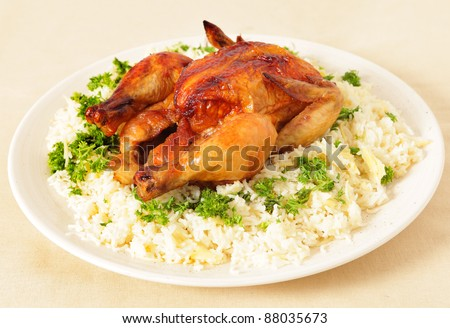 High-angle view of a roasted chicken on a bed of boiled rice garnished with parsley - stock photo