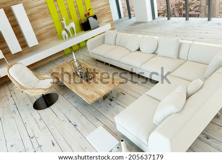 High angle view of a rustic living room interior with white painted wooden floorboards, wood paneled wall and a long corner white upholstered couch or settee - stock photo