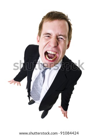 High angle view of a screaming man - stock photo