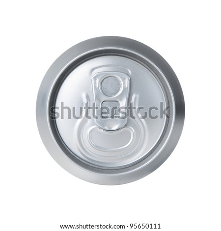 High angle view of aluminum soda can isolated on white - stock photo
