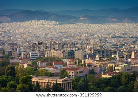 High angle view of Athens,Greece at sunset - stock photo