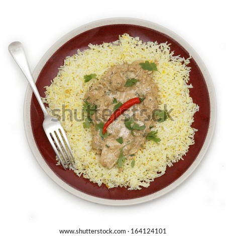 High angle view of balti chicken pasanda curry served on a bed of saffron rice, garnished with coriander leaves and a red chilli.  - stock photo