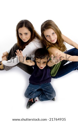 high angle view of brother and sisters with white background - stock photo