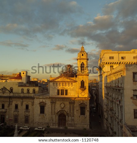 High angle view of buildings in a city, Havana, Cuba - stock photo