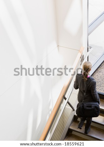 High angle view of businesswoman with briefcase ascending stairs - stock photo