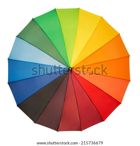 High angle view of colorful umbrella isolated on white background - stock photo