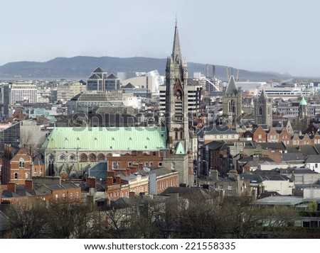 high angle view of Dublin, the capital city of Ireland - stock photo