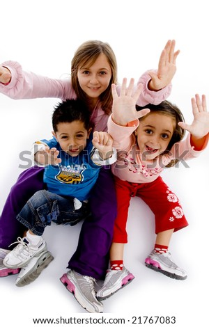 high angle view of enjoying children with white background - stock photo
