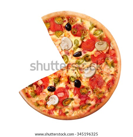 High Angle View of Fresh Baked Pizza - stock photo