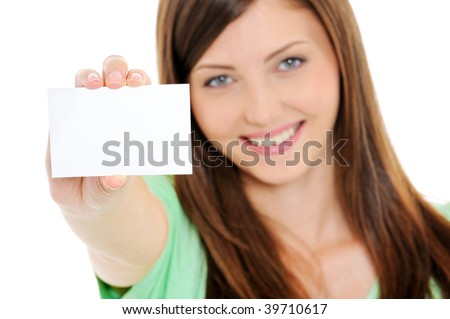 High angle view of happy woman showing the blank business card in hand - stock photo