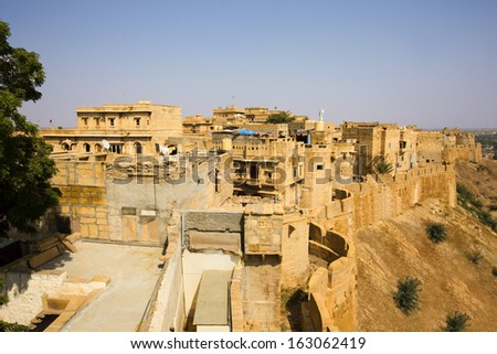 High angle view of Jaisalmer Fort, Jaisalmer, Rajasthan, India - stock photo