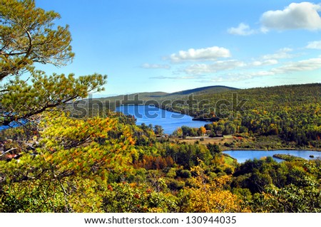 High angle view of Lake Fanny Hooe in Upper Peninsula, Michigan.  Lake is located on the Keweenaw Peninsula and this view is from famous Brockway Mountain Drive. - stock photo