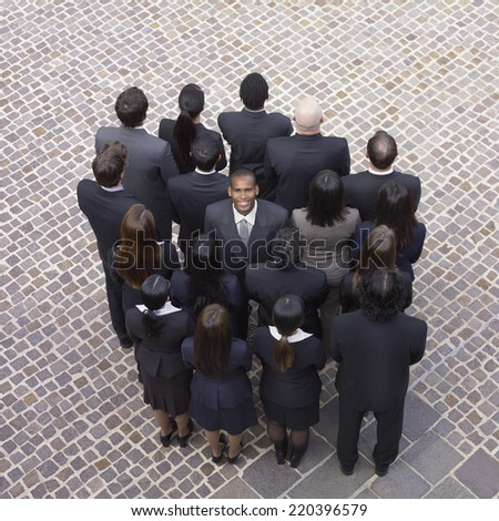 High angle view of large group of businesspeople - stock photo