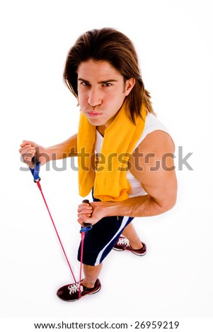 high angle view of man exercising with rope with white background - stock photo