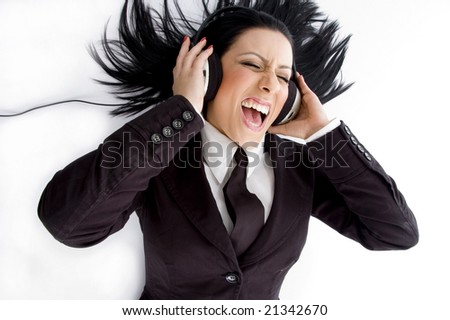 high angle view of manager wearing headphone on an isolated white background - stock photo