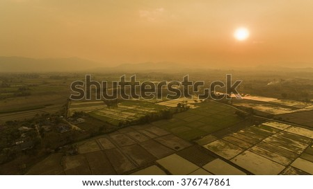 High angle view of rice fields sunset.