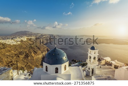 High angle view of Santorini blue dome churches, Greece. Light Leaks