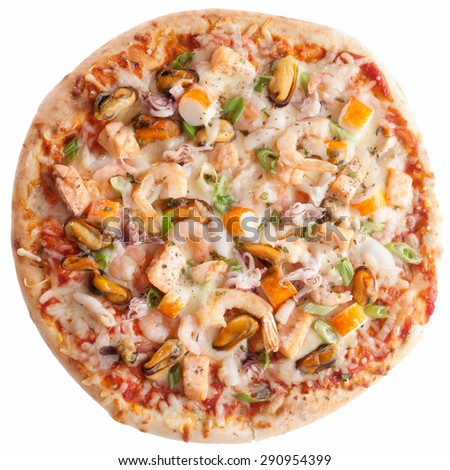 High Angle View of Seafood Pizza Topped with Fresh ...