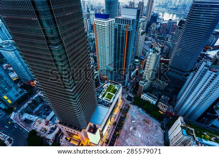 High angle view of skyscrapers in chongqing at sunset