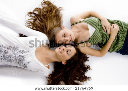 high angle view of smiling friends against white background - stock photo