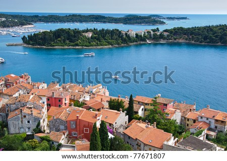 High angle view of the Dalmatian coast from the city of Rovinj Croatia - stock photo