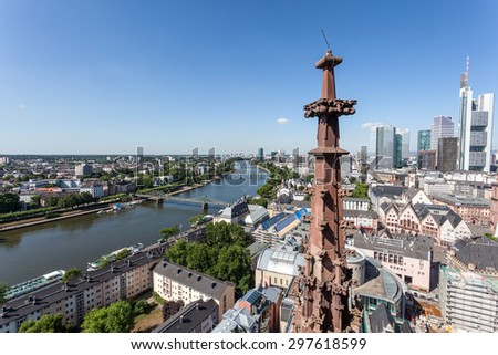 High angle view of the downtown in Frankfurt Main city, Hesse, Germany