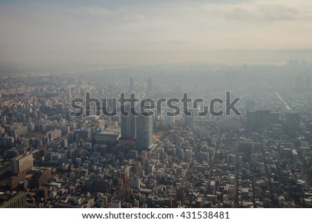 High-Angle View of Tokyo in Smog