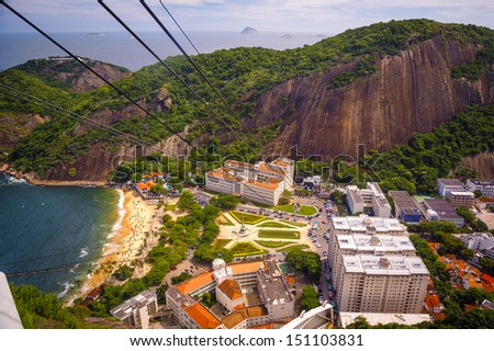 High angle view of Urca neighborhood from Sugarloaf Mountain, Rio De Janeiro, Brazil - stock photo
