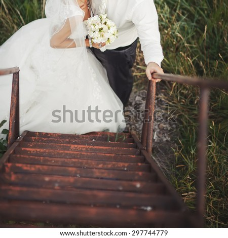 High angle view of wedding couple together. - stock photo